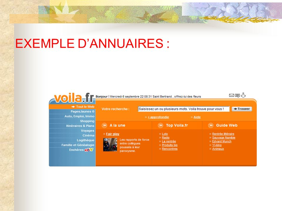 EXEMPLE D'ANNUAIRES :