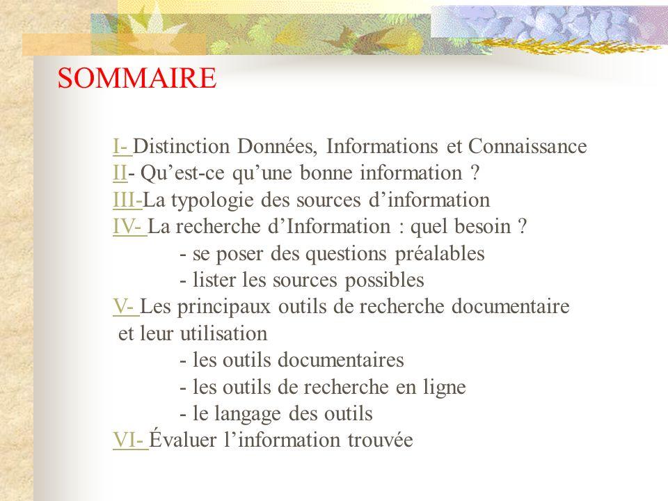 SOMMAIRE I- Distinction Données, Informations et Connaissance