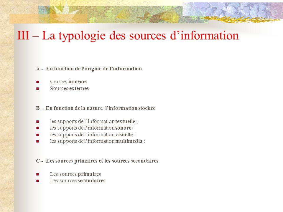 III – La typologie des sources d'information