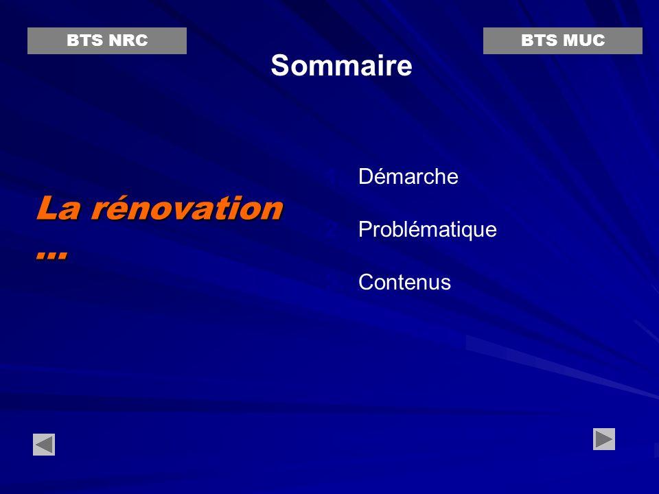 La rénovation ... Sommaire Démarche Problématique Contenus BTS NRC