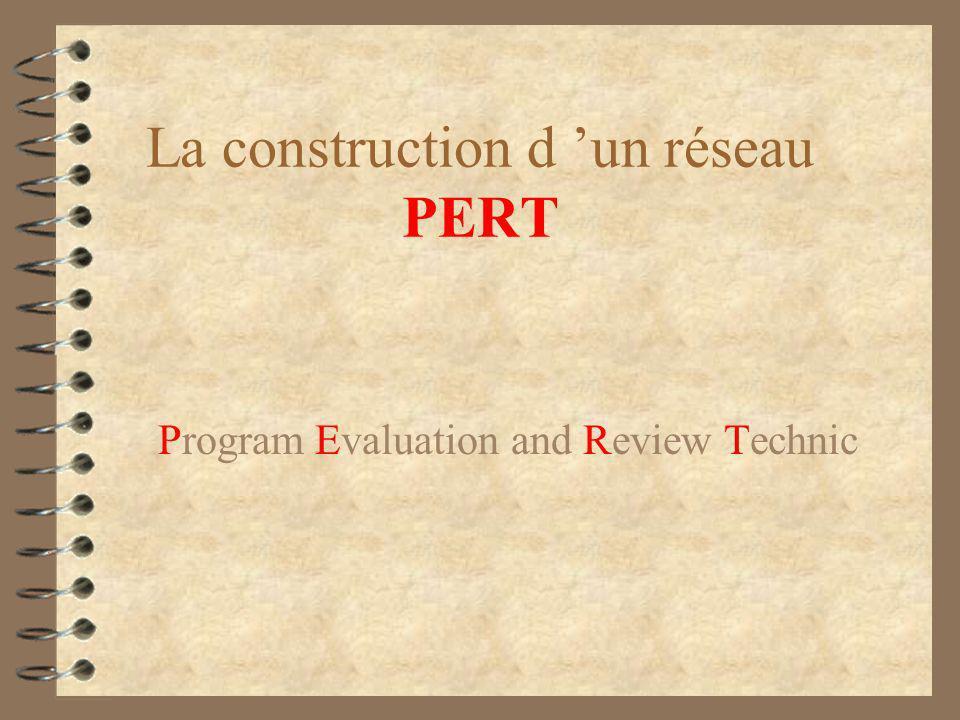 La construction d 'un réseau PERT