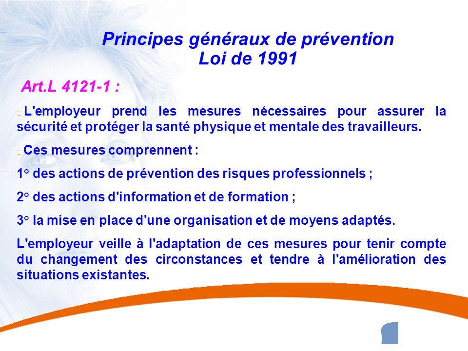 Principes généraux de prévention Loi de 1991