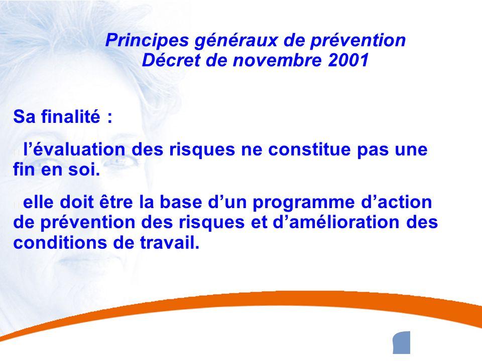Principes généraux de prévention Décret de novembre 2001