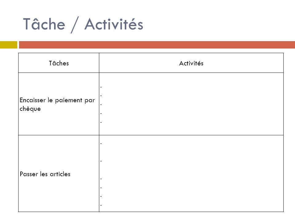 Tâche / Activités Tâches Activités Encaisser le paiement par chèque