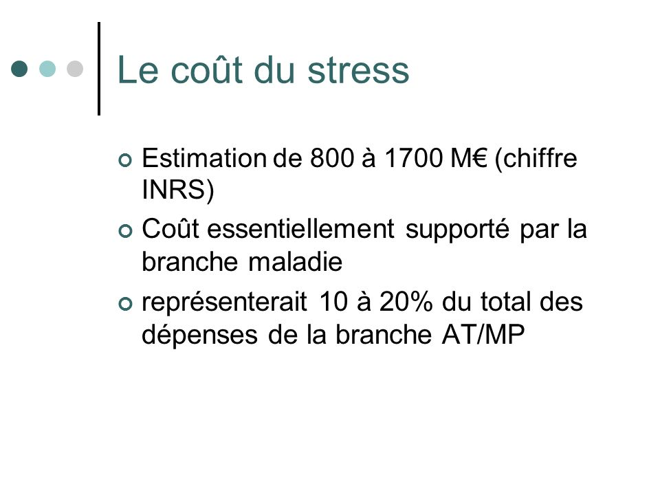Le coût du stress Coût essentiellement supporté par la branche maladie