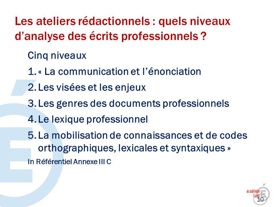 Les ateliers rédactionnels : quels niveaux d'analyse des écrits professionnels