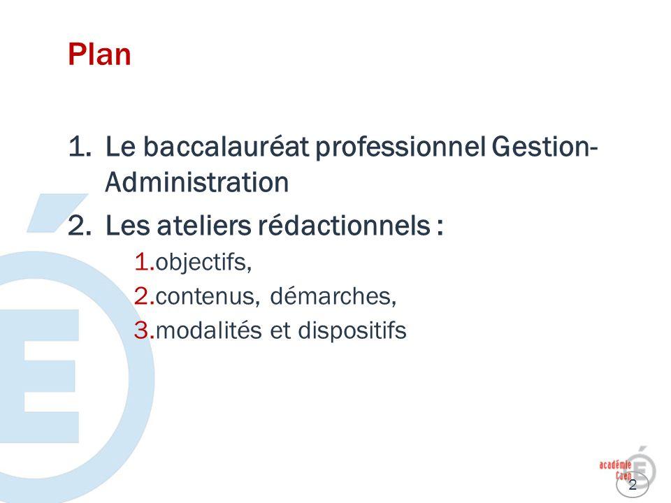 Plan Le baccalauréat professionnel Gestion- Administration