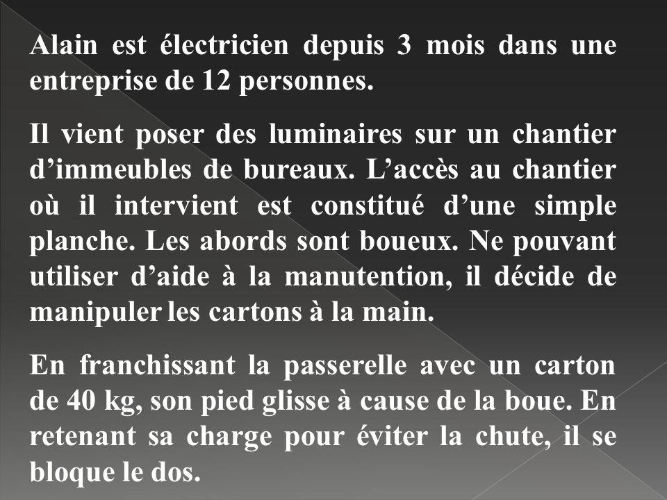 Alain est électricien depuis 3 mois dans une entreprise de 12 personnes.