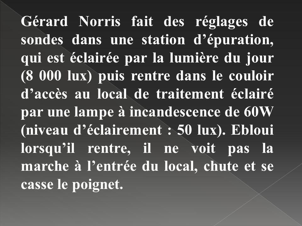 Gérard Norris fait des réglages de sondes dans une station d'épuration, qui est éclairée par la lumière du jour (8 000 lux) puis rentre dans le couloir d'accès au local de traitement éclairé par une lampe à incandescence de 60W (niveau d'éclairement : 50 lux).