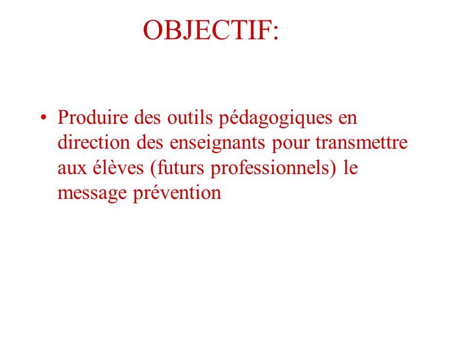 OBJECTIF:Produire des outils pédagogiques en direction des enseignants pour transmettre aux élèves (futurs professionnels) le message prévention.