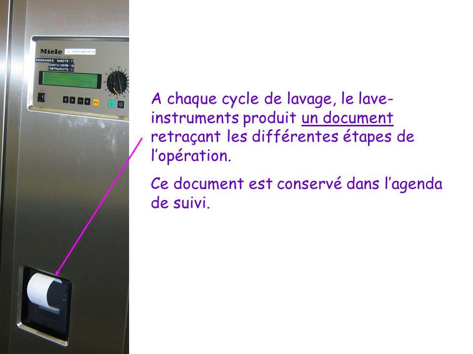 A chaque cycle de lavage, le lave-instruments produit un document retraçant les différentes étapes de l'opération.