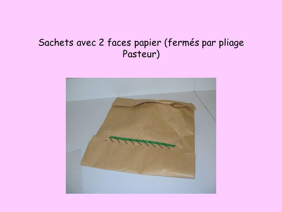 Sachets avec 2 faces papier (fermés par pliage Pasteur)