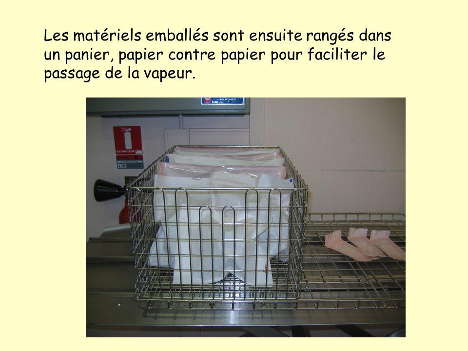 Les matériels emballés sont ensuite rangés dans un panier, papier contre papier pour faciliter le passage de la vapeur.