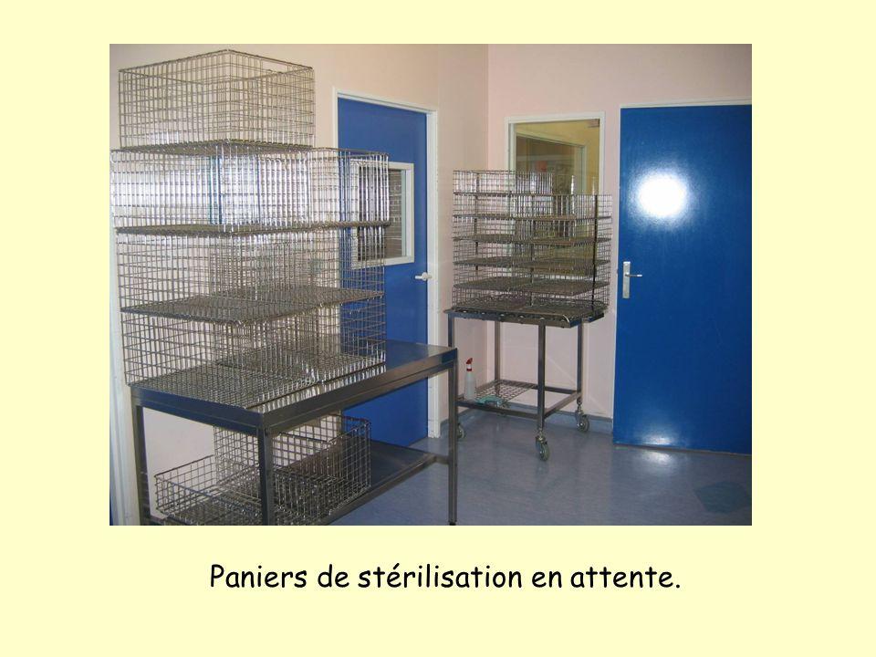 Paniers de stérilisation en attente.
