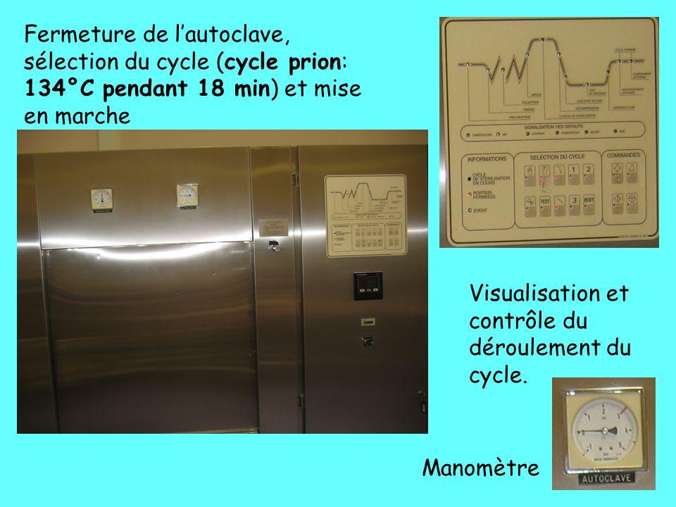 Fermeture de l'autoclave, sélection du cycle (cycle prion: 134°C pendant 18 min) et mise en marche