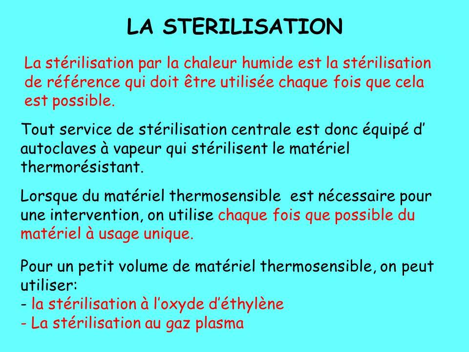 LA STERILISATION La stérilisation par la chaleur humide est la stérilisation de référence qui doit être utilisée chaque fois que cela est possible.