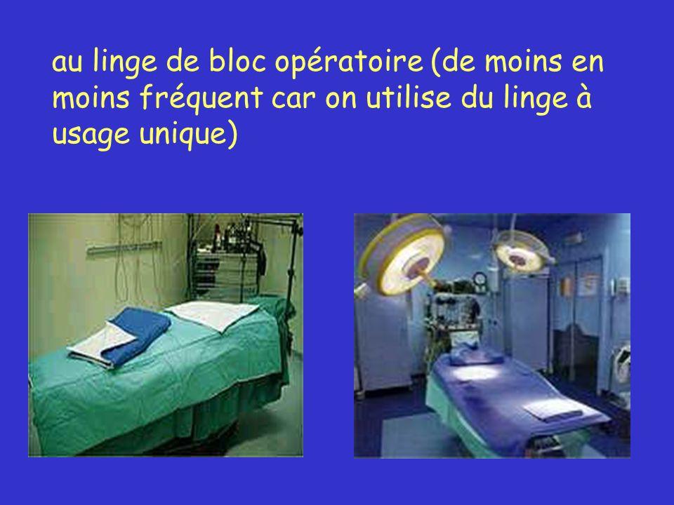 au linge de bloc opératoire (de moins en moins fréquent car on utilise du linge à usage unique)