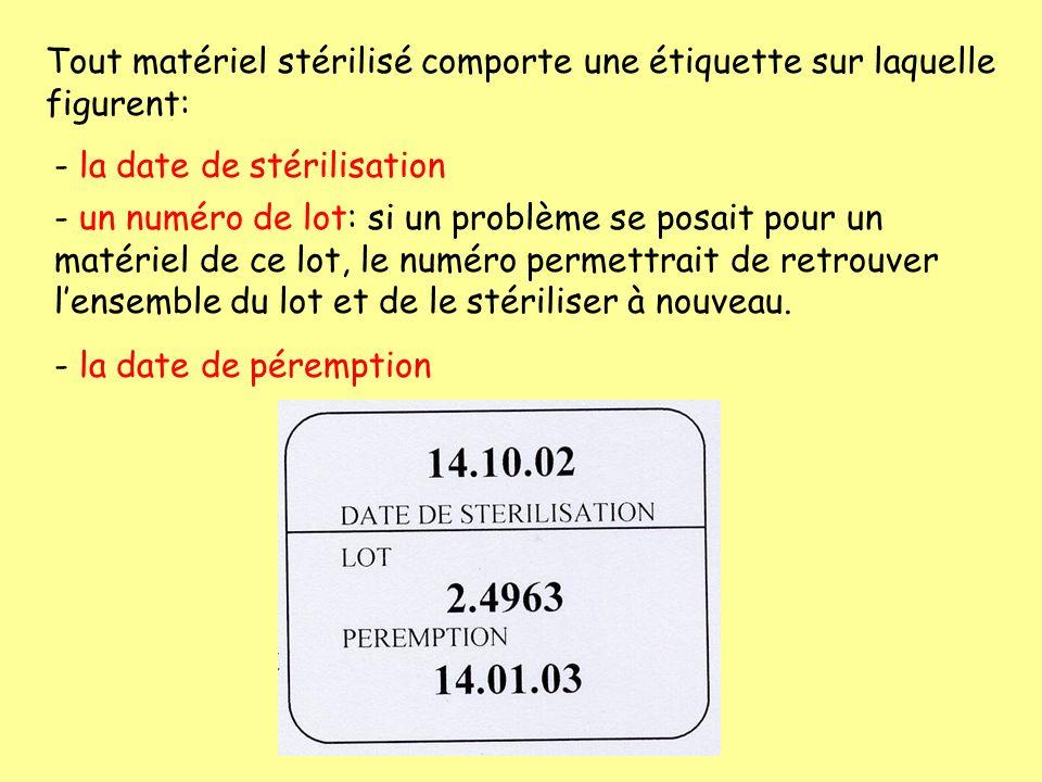 Tout matériel stérilisé comporte une étiquette sur laquelle figurent: