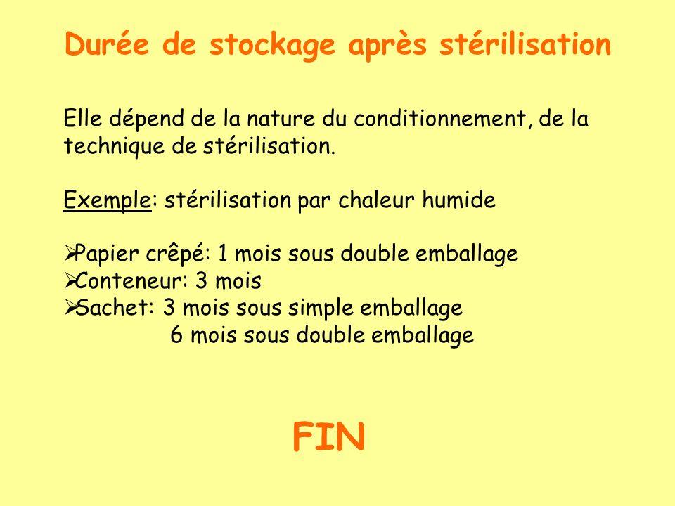 Durée de stockage après stérilisation