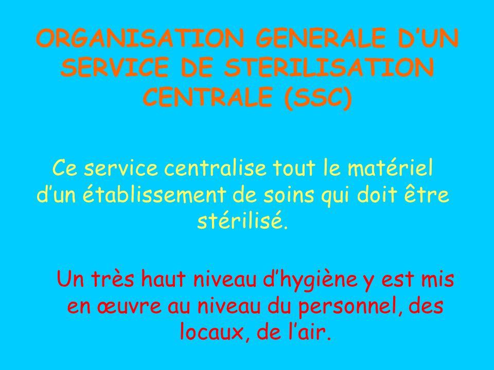 ORGANISATION GENERALE D'UN SERVICE DE STERILISATION CENTRALE (SSC)