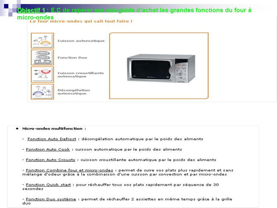 Objectif 1 : E.C de repérer sur une guide d'achat les grandes fonctions du four à micro-ondes