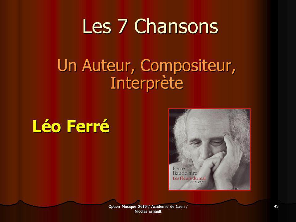 Un Auteur, Compositeur, Interprète Léo Ferré