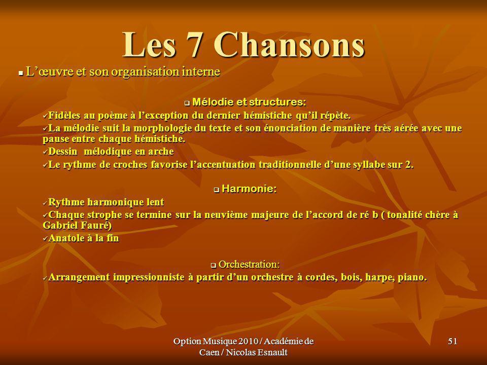 Les 7 Chansons L'œuvre et son organisation interne
