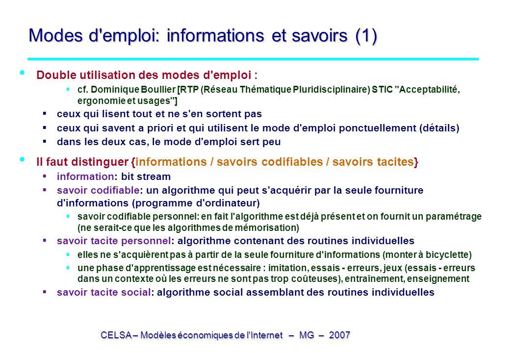Modes d emploi: informations et savoirs (1)