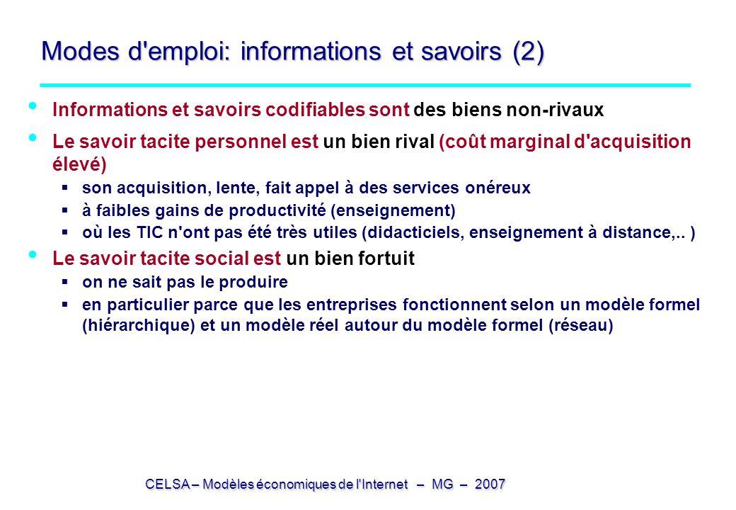 Modes d emploi: informations et savoirs (2)