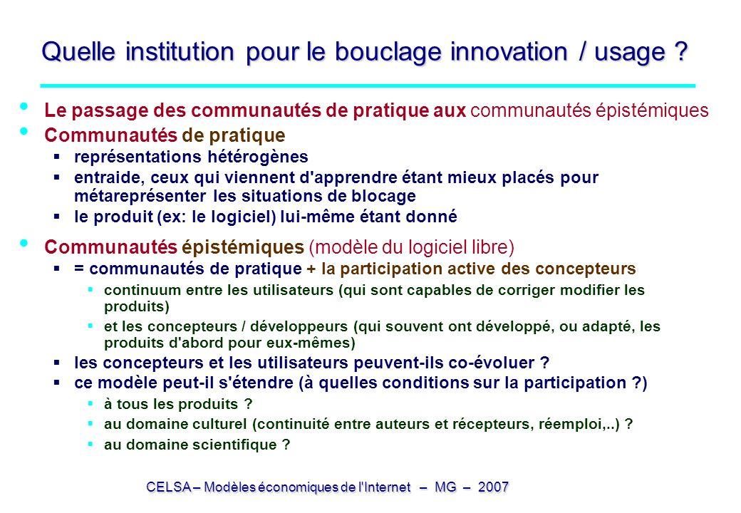 Quelle institution pour le bouclage innovation / usage