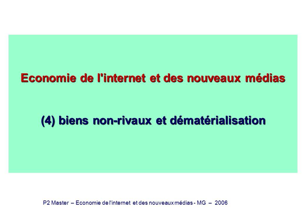 Economie de l internet et des nouveaux médias (4) biens non-rivaux et dématérialisation