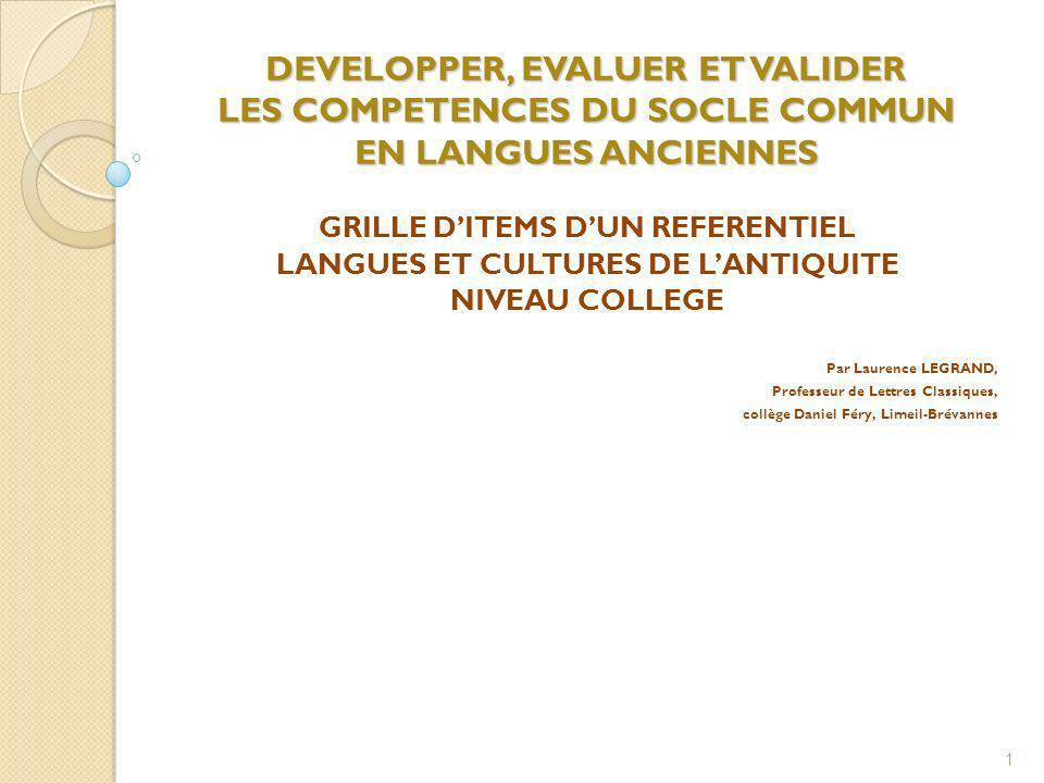 GRILLE D'ITEMS D'UN REFERENTIEL LANGUES ET CULTURES DE L'ANTIQUITE