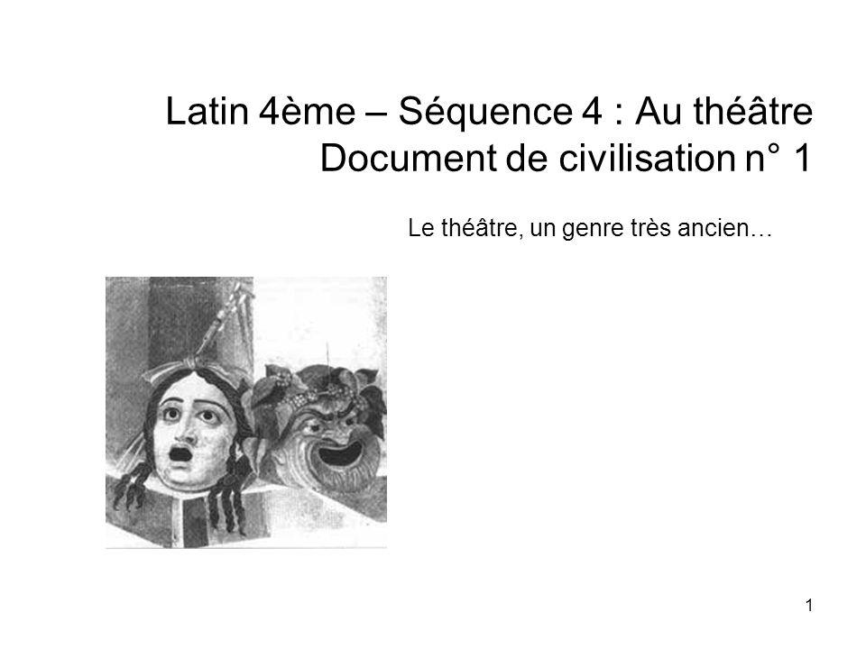 Latin 4ème – Séquence 4 : Au théâtre Document de civilisation n° 1