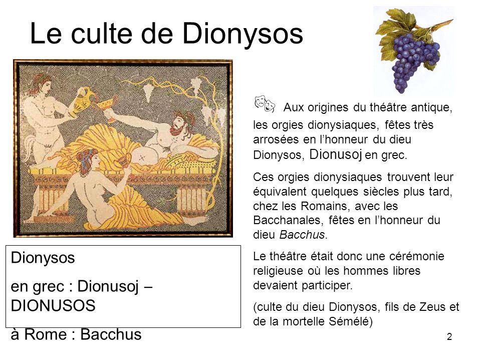 Le culte de Dionysos  Aux origines du théâtre antique, les orgies dionysiaques, fêtes très arrosées en l'honneur du dieu Dionysos, Dionusoj en grec.