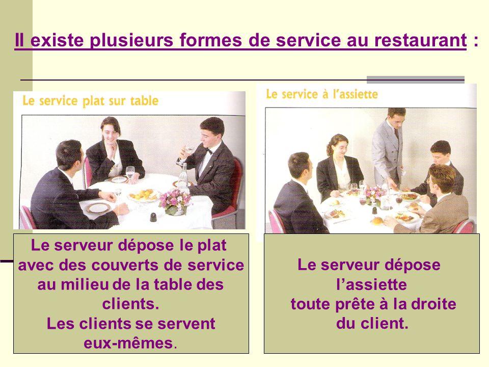 Il existe plusieurs formes de service au restaurant :