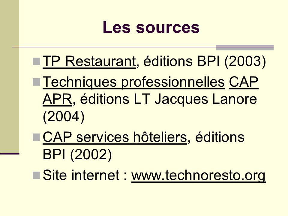 Les sources TP Restaurant, éditions BPI (2003)