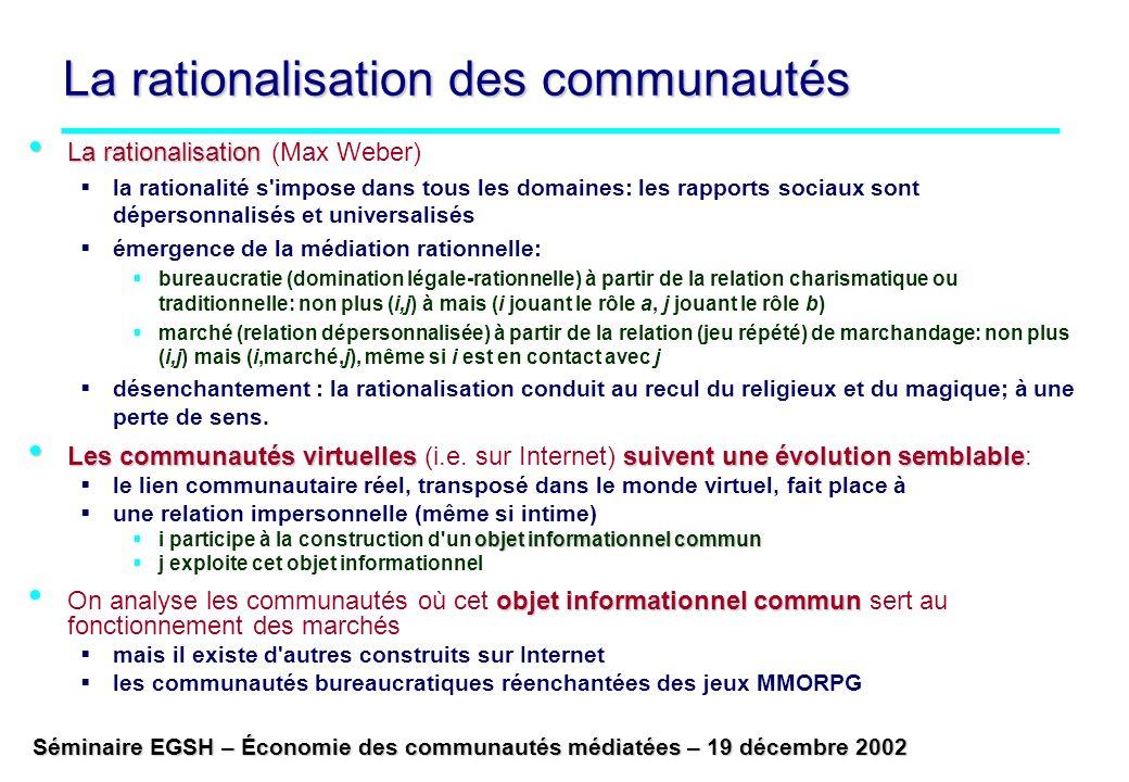 La rationalisation des communautés