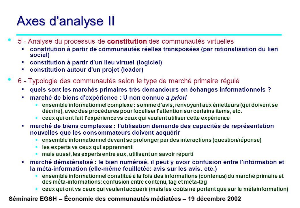 Axes d analyse II 5 - Analyse du processus de constitution des communautés virtuelles.