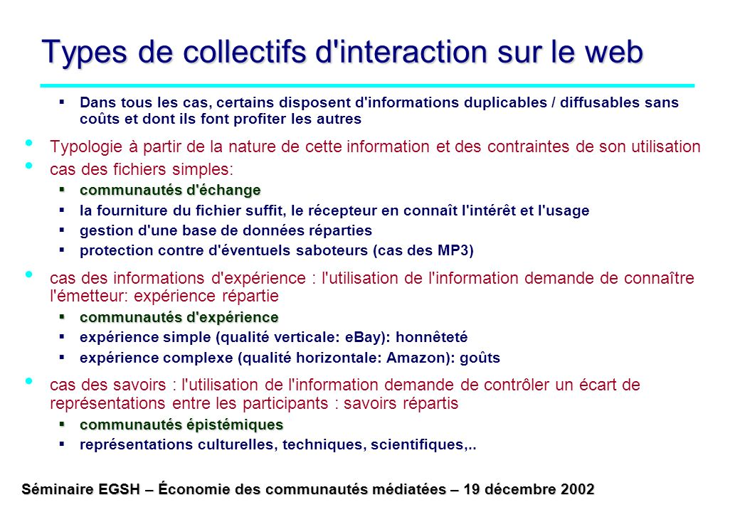Types de collectifs d interaction sur le web
