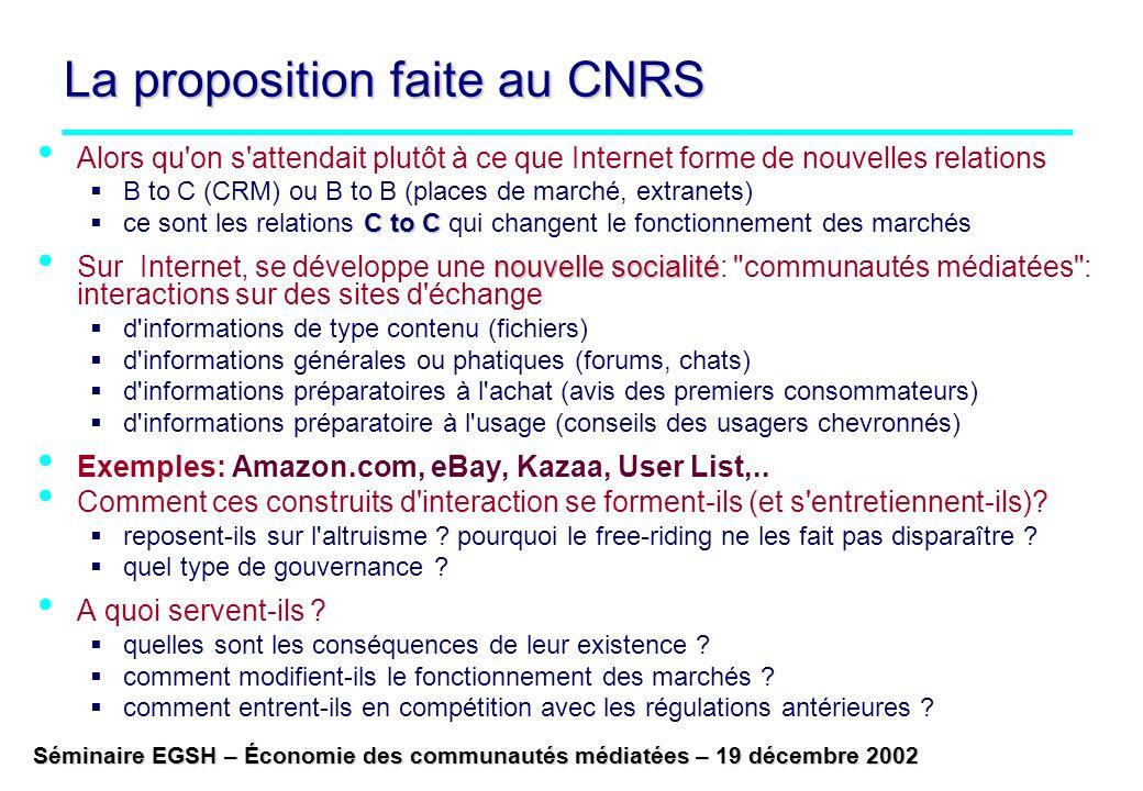 La proposition faite au CNRS