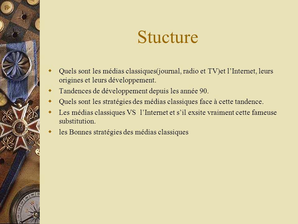 Stucture Quels sont les médias classiques(journal, radio et TV)et l'Internet, leurs origines et leurs développement.