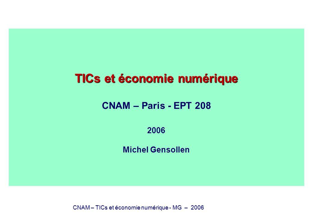 TICs et économie numérique CNAM – Paris - EPT 208 2006 Michel Gensollen