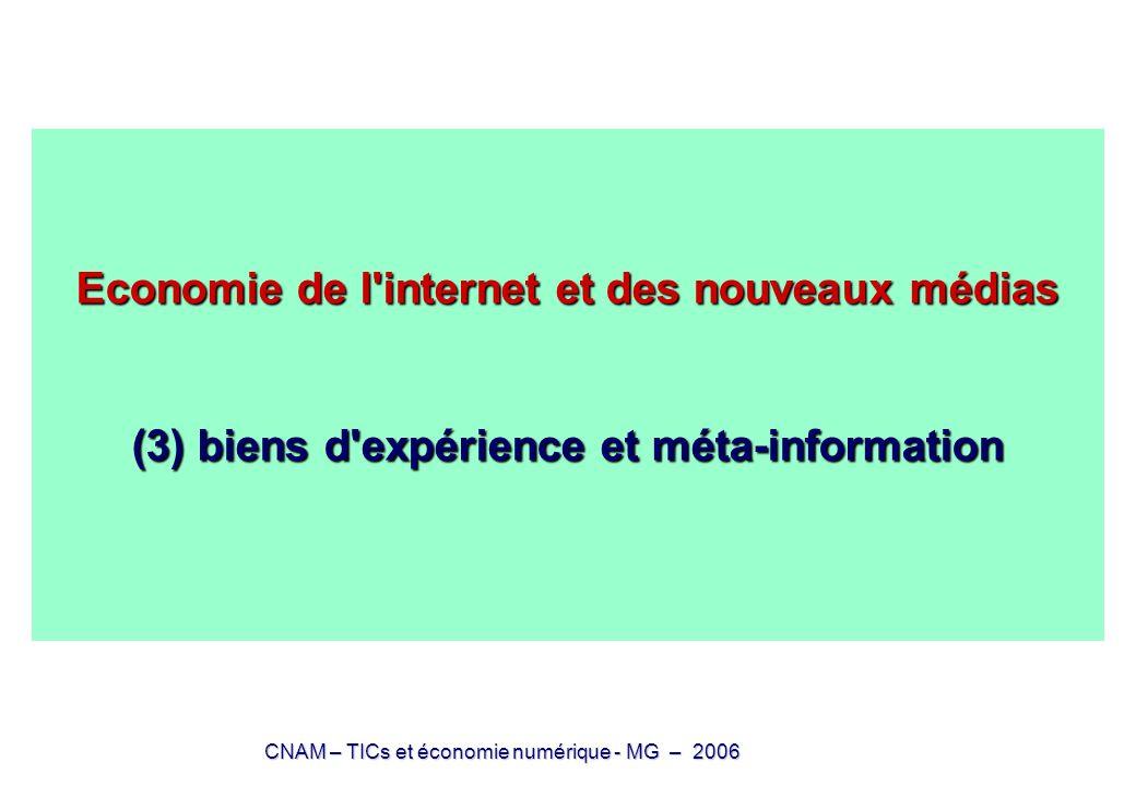 Economie de l internet et des nouveaux médias (3) biens d expérience et méta-information