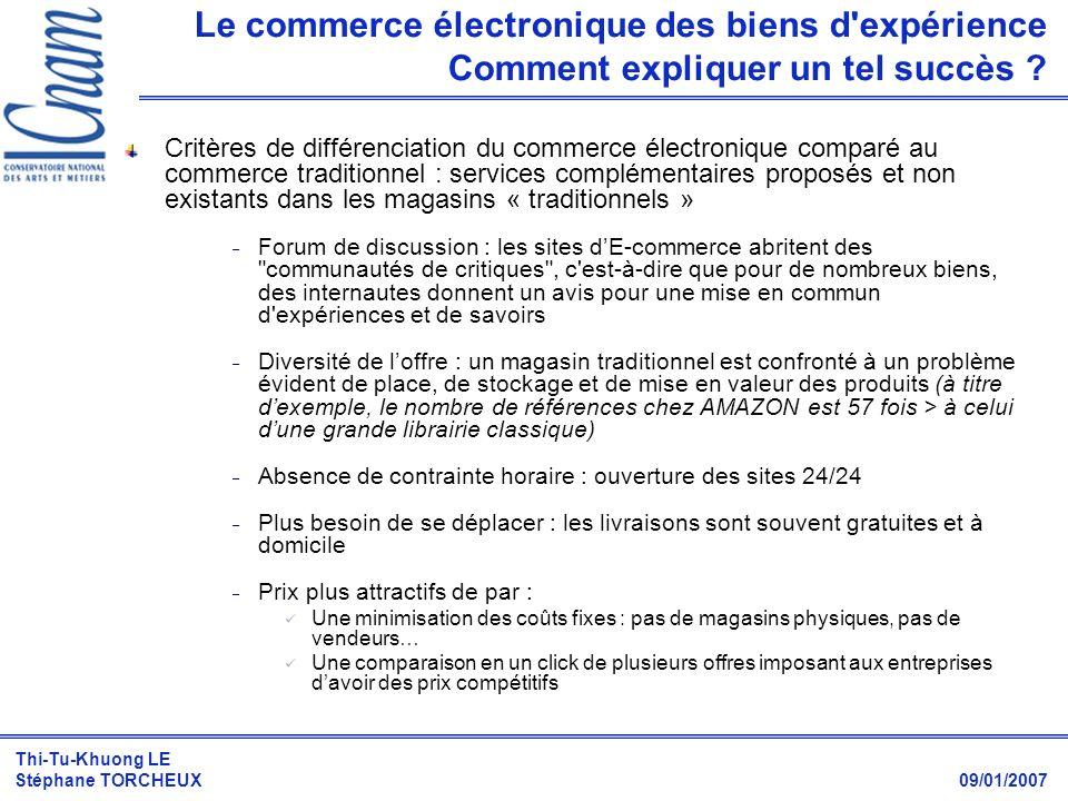 Le commerce électronique des biens d expérience Comment expliquer un tel succès