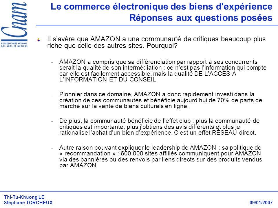Le commerce électronique des biens d expérience Réponses aux questions posées