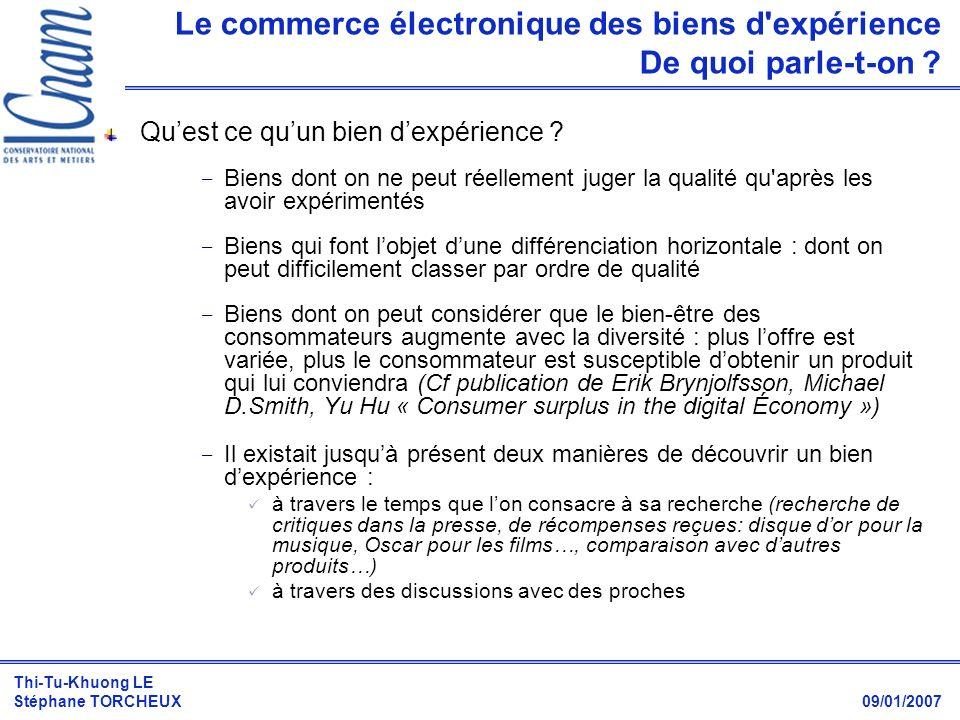Le commerce électronique des biens d expérience De quoi parle-t-on