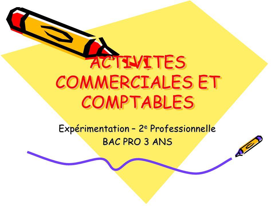 ACTIVITES COMMERCIALES ET COMPTABLES
