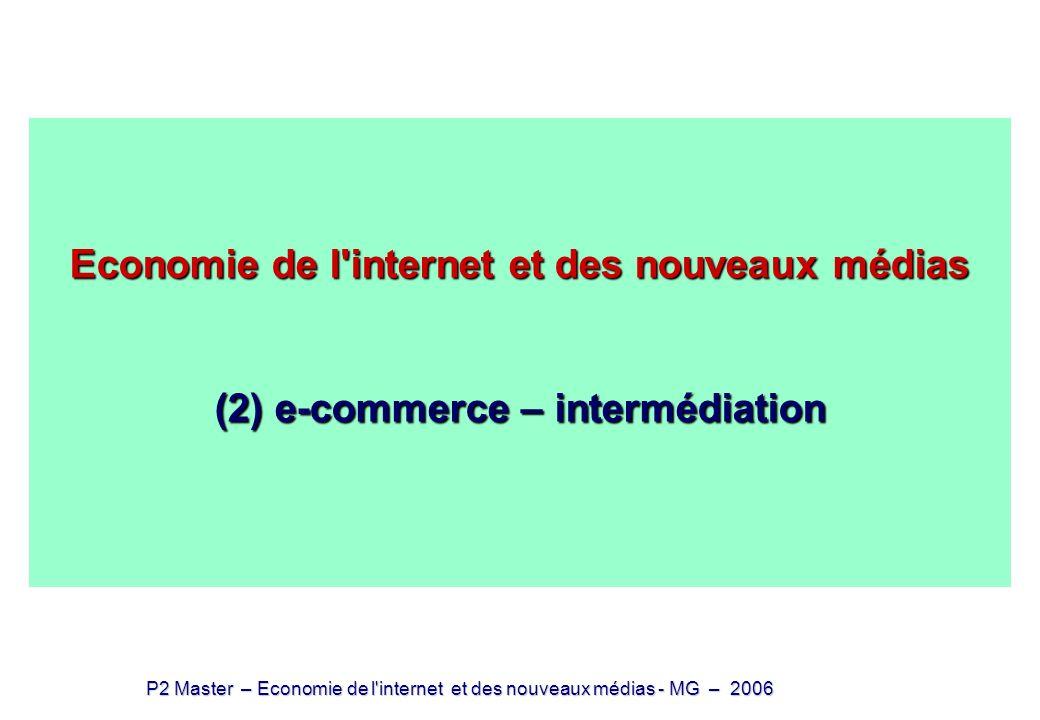 Economie de l internet et des nouveaux médias (2) e-commerce – intermédiation