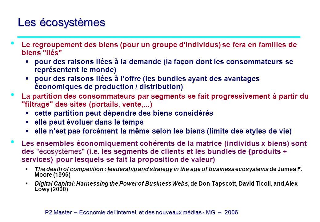 Les écosystèmes Le regroupement des biens (pour un groupe d individus) se fera en familles de biens liés