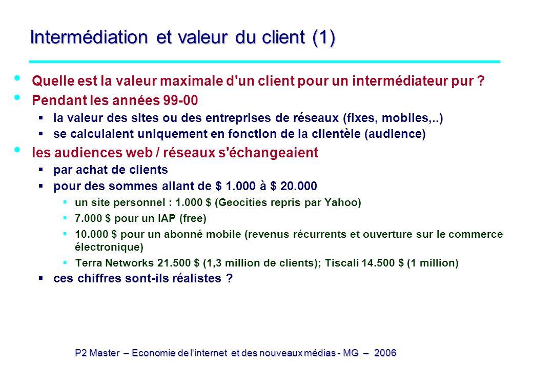 Intermédiation et valeur du client (1)